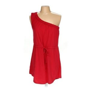 LA Made Red Asymmetrical Jersey Dress